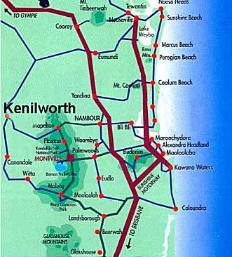 Sunshine Coast map showing location of Kenilworth